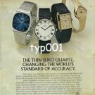 SEIKO - 1976 - THIN SEIKO QUARTZ CHANGING WORLD'S STANDARD OF ACCURACY PRINT AD
