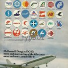 MCDONNELL DOUGLAS 1975 DC-10 PRINT AD - LUGGAGE TAGS OF YOUR FAVORITE AIRLINE