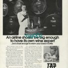 TAP PORTUGESE AIRLINES - 1973 - BIG ENOUGH TO HAVE ITS OWN WINE EXPERT PRINT AD