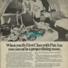PAN AM - 1973 - PROPER DINING ROOM IN FIRST CLASS PRINT AD