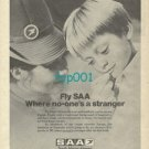 SAA SOUTH AFRICAN AIRWAYS - 1973 - FLY SAA WHERE NO ONE'S A STRANGER PRINT AD