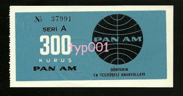 PAN AM - 1960s AIRPORT TRANSFER BUS TICKET FOR ISTANBUL TURKEY