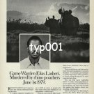 WORLD WILDLIFE FUND - 1980 - GAME WARDEN MURDERED BY RHIN0 POACHERS PRINT AD