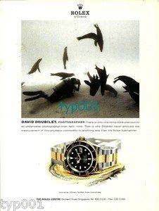 ROLEX - 2000- DAVID DOUBILET UNDERWATER PHOTOGRAPHER PRINT AD