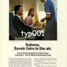 SABENA - 1985 - EXPERTISE SAVOIR FAIRE IN THE AIR BUSINESS CLASS PRINT AD
