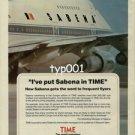 TIME MAG - SABENA - 1984 - I'VE PUT SABENA IN TIME PRINT AD