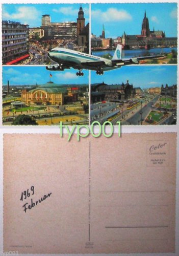 PAN AM - 1969 BOEING 707 LOST OVER FRANKFURT POSTCARD