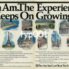 PAN AM - 1985 - THE EXPERIENCE KEEPS GROWING PRINT AD