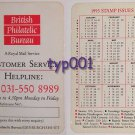 BRITISH PHILATELIC BUREAU 1993 STAMPS WALLET CALENDAR