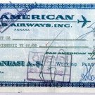 PAN AM - 1962 COMPANY CHEQUE ISBANK ANKARA TURKEY
