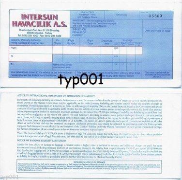 INTERSUN - INTER SUNWAYS TURKISH CHARTER AIRLINE TICKET UNUSED 1995