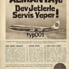 PAN AM - 1963 - ONLY PAN AM SERVES GERMANY W/ GIANT JETS - RARE TURKISH PRINT AD