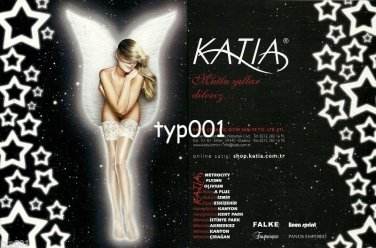 KATIA - 2010 - SEXY ANGEL WHITE STOCKINGS HOSIERY TURKISH PRINT AD
