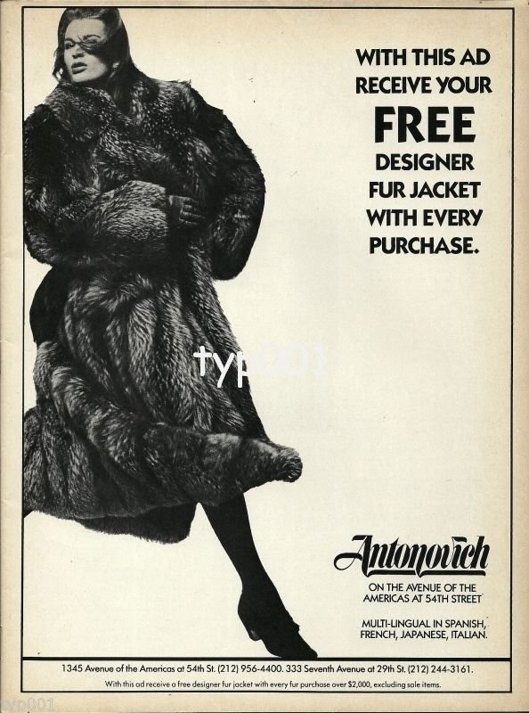 ANTONOVICH FURS - 1988 - FREE FUR JACKET - LADY IN FUR COAT PRINT AD