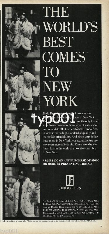 JINDO FURS - 1988 - THE WORLD'S BEST COMES TO NEW YORK PRINT AD
