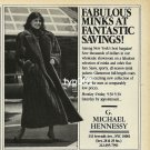 MICHAEL HENNESSY FURS - RITZ THRIFT SHOP - 1988 - LADY IN MINK FUR COAT PRINT AD