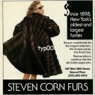 STEVEN CORN FURS - 1992 - SINCE 1898 NEW YORK'S OLDEST LARGEST FURRIER PRINT AD