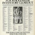 THE FUR & COAT OUTLET CO - 1988 - LADY IN LYNX FUR COAT PRINT AD