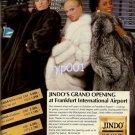 JINDO FURS - 1986 - GRAND OPENING AT FRANKFURT INTL AIRPORT MINK FOX PRINT AD