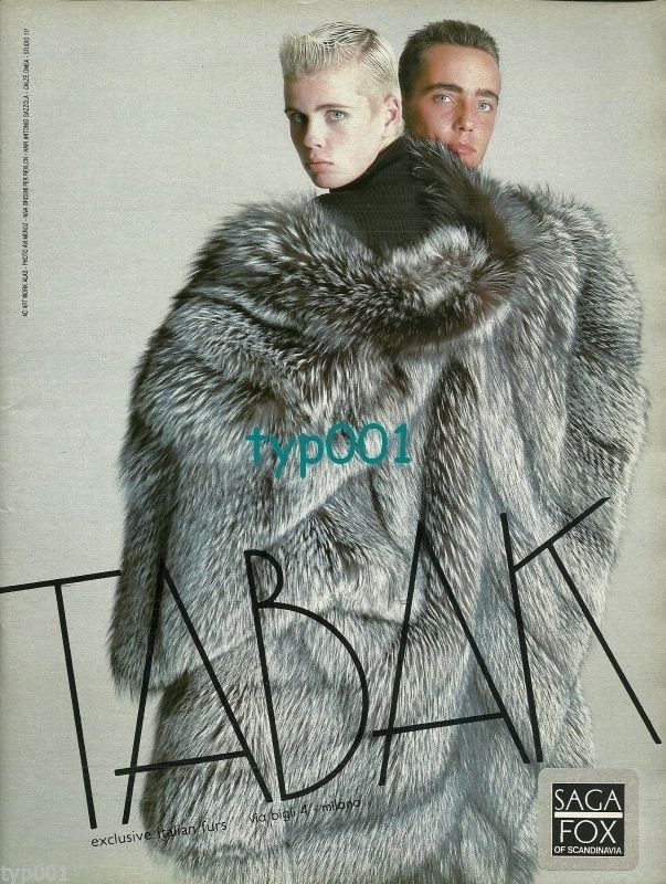 TABAK FURS - 1986 - EXCLUSIVE ITALIAN FURS SAGA FOX OF SCANDINAVIA PRINT AD