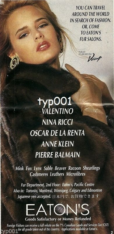 EATON'S FURS - 1996 - FURS BY VINCENZO LADY IN FUR COAT PRINT AD