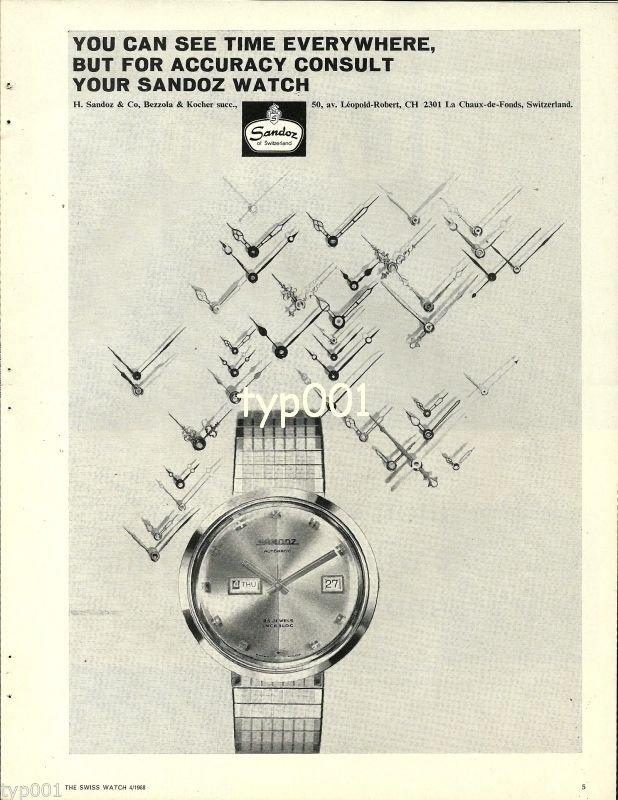 SANDOZ - 1968 - FOR ACCURACY CONSULT YOUR SANDOZ WATCH VINTAGE PRINT AD