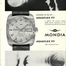 MONDIA - 1968 - ELASTICITY IN THE AIR AQUAFLEX 777 WATCH VINTAGE PRINT AD