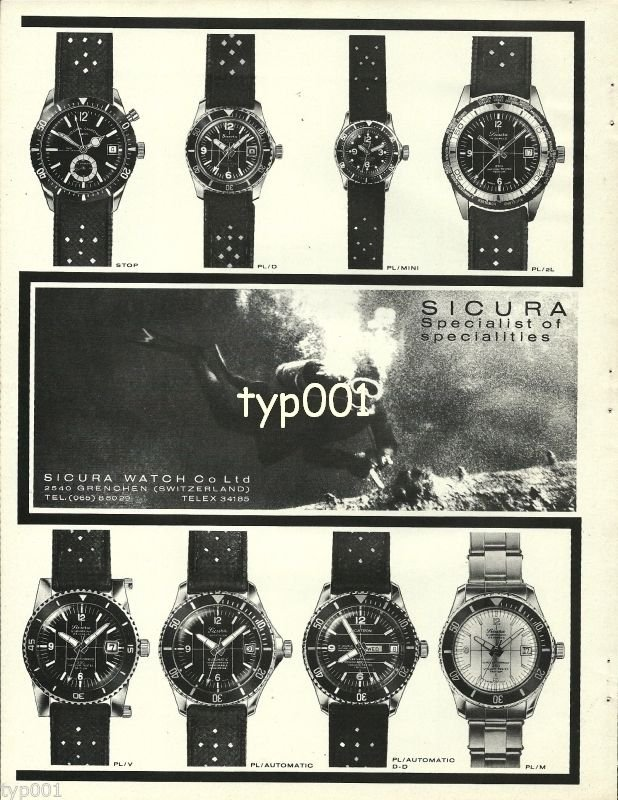 SICURA - 1968 - SPECIALIST OF SPECIALITIES DIVERS WATCH VINTAGE PRINT AD