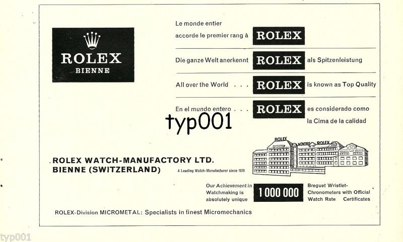 ROLEX - 1968 - ALL OVER THE WORLD ROLEX IS KNOWN AS TOP QUALITY VINTAGE PRINT AD