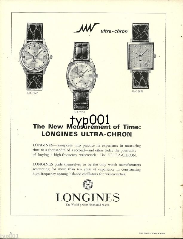 LONGINES - 1968 - NEW MEASUREMENT OF TIME ULTRA CHRON WATCH VINTAGE PRINT AD