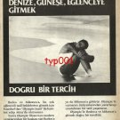OLYMPIC AIRWAYS - 1985 - RIGHT CHOICE TO RHODES MYKONOS SUN FUN TURKISH PRINT AD