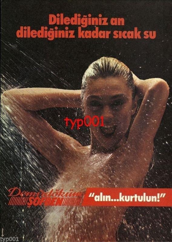 DEMIRDOKUM - 1984 SEXY NUDE SHOWERING HOT WATER HEATER TURKISH PRINT AD - 1
