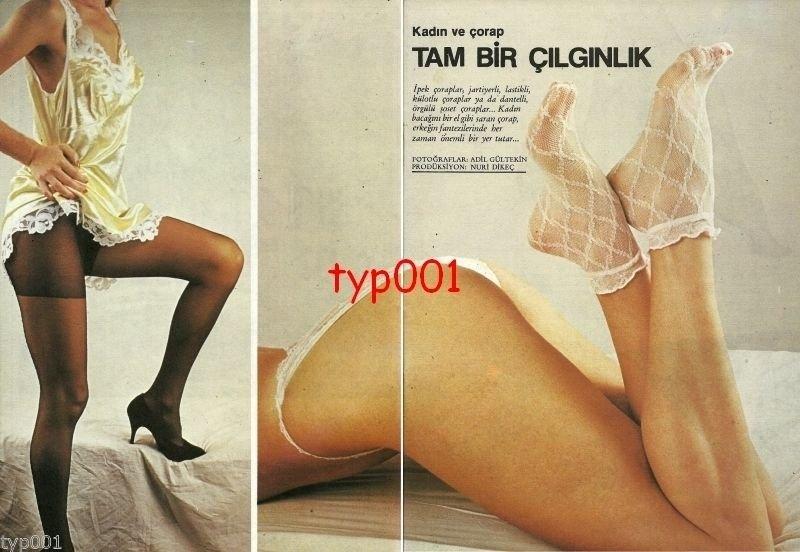 WOMEN & HOSIERY - 1985 - PANTYHOSE STOCKINGS 8 PAGE TURKISH PRINT EDITORIAL