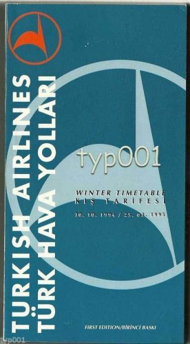 TURKISH AIRLINES - 1993-94 WINTER SYSTEM TIMETABLE - 1. EDITION
