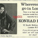 KONRAD FURS - 1972- WHENEVER IN LONDON EXCLUSIVE FURS DESIGNED FOR YOU PRINT AD