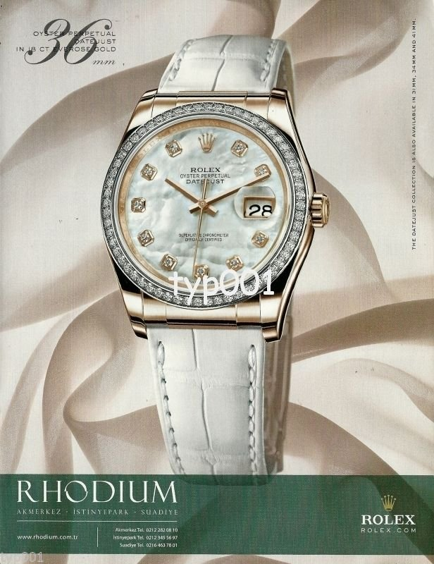 ROLEX - 2010 - OYSTER PERPETUAL DATEJUST IN 18 CARAT EVEROSE GOLD PRINT AD