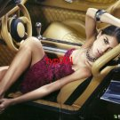 APEX BRAZIL - 2010 - SEXY LADY IN FUR DRESS IN CONVERTIBLE CAR PRINT AD