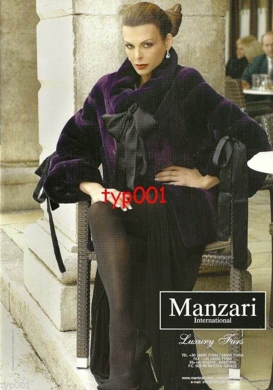 MANZARI FURS - 2010 -  SEXY LADY IN PURPLE FUR COAT SILK DRESS HOSIERY PRINT AD