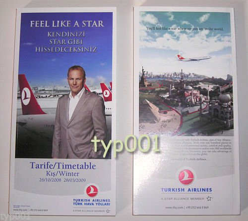 TURKISH AIRLINES - 2008-2009 WINTER SYSTEM TIMETABLE -  KEVIN COSTNER ON COVER