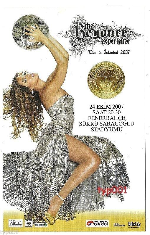 FENERBAH�E F.C. TURKEY  2007 - 100. ANNIVERSARY BEYONCE CONCERT FLYER CARD