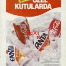 COCA COLA & FANTA - 1986 100TH YEAR NOW IN SPECIAL CANS TURKISH PRINT AD