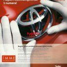 TOYOTA - 2009 NUMBER ONE IN CUSTOMER SATISFACTION TURKISH PRINT AD
