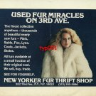 NEW YORKER FUR THRIFT SHOP - 1988 - LADY IN FUR COAT PRINT AD
