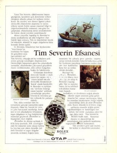 ROLEX - 1986 - THE LEGEND OF TIM SEVERIN PRINT AD