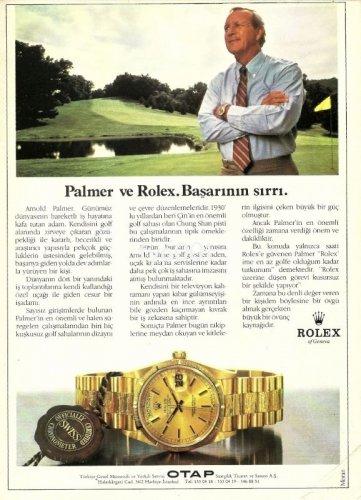 ROLEX - 1987 - ARNOLD PALMER & HIS ROLEX THE SECRET OF SUCCESS TURKISH PRINT AD