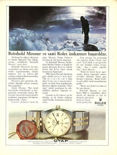 ROLEX - 1987 - REINOLD MESSNER AND HIS ROLEX SUCCEED IMPOSSIBLE TURKISH PRINT AD