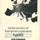 AIR FRANCE - 1973 - EUROPEAN EXPANSION PRINT AD - ROUTE MAP