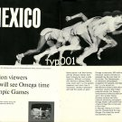 OMEGA - 1968 - MEXICO OLYMPICS 600 MILLION VIEWERS WILL SEE OMEGA TIME PRINT AD
