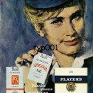 PLAYER'S - 1959 - HAMBURG TO NEW YORK ON BOARD LUFTHANSA - STEWARDESS PRINT AD