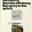 LUFTHANSA - 1973 - WE DIDN'T CREATE THE MYTH OF GERMAN EFFICIENCY PRINT AD